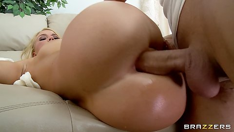 Busty Krissy deep anal fucked on the couch