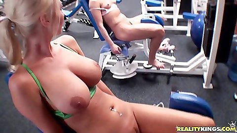 Sexy sporty busty chicks having a nude work out