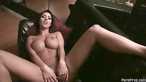 Slut laying on the living room sofa with her legs appart