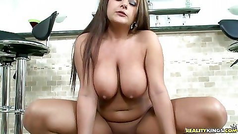 Penelope sits on cock and her big natural tits bounce around