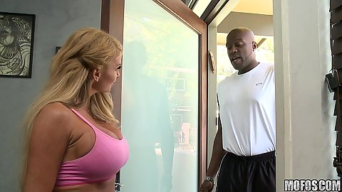Hot busty milf with a huge ass black cock working out