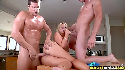 Emma getting anal fucked and sucking another cock