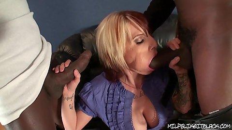 Slut with big tits gets a giant black rod