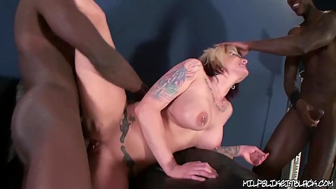 Milf pounded and thursted with a cock down her throat