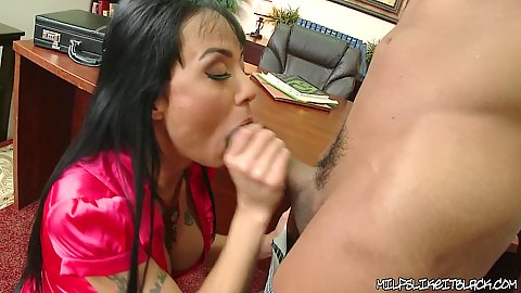 Milf with big tits in red hungry for some black cock love