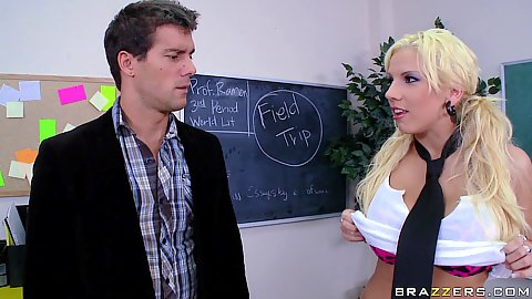 Busty Lylith trying to seduce a teacher