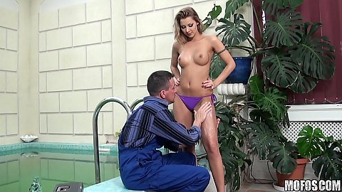 Sexy chick seduces her pool guy