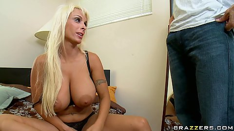 Big ass tits Holly look up while she undoes pants