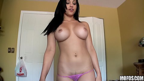 Super hot gf with really big tits strips down