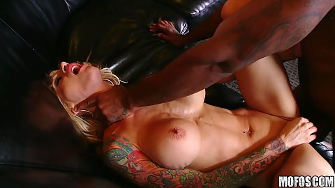 Big tits milf kneeling down for a deep sucking throat