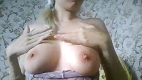 Shaved pussy stands up and spreads it further