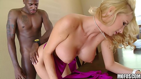Fucking big tits mil so her head bang on table
