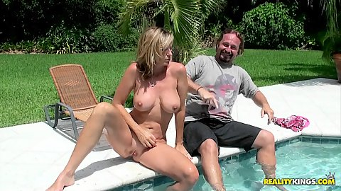 Jodi comes back to our villa to have a nude swim