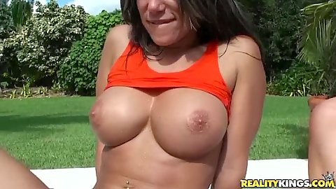 Busty milf pull up their shirts for a glipse