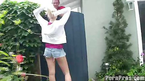 18 year old cutie Vanessa Cage in the yard