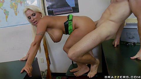 Big tits milf sucking down and swalling semen