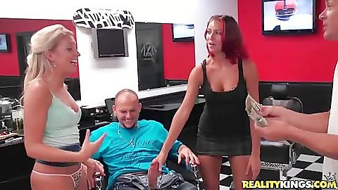 Dude receiving a blow job in the barbers salon