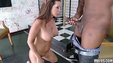 Milf pulls jeans off a black cock and then sits on it