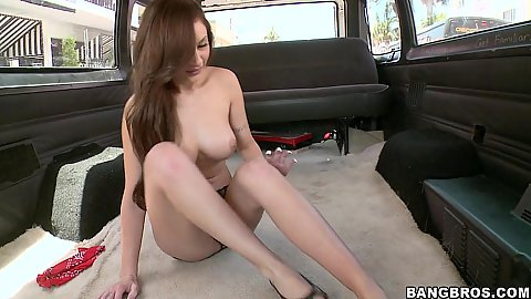 Amy Reid taking a ride on the famous bang bus