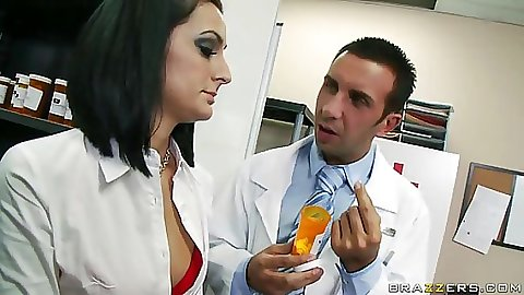 Sexy brunette doctor caught by Keiran buying sex drugs