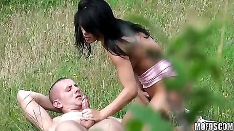 Couple caught on tape fucking behind a tree moaning