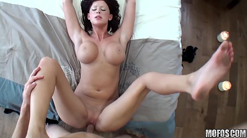 Jiggling big tits and a shaved pussy with a cow girl fuck