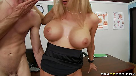 Sideways fucking big tits teacher on her own desk
