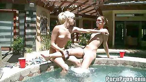 Teen bff Teagn and Gigi outdoors near a pool