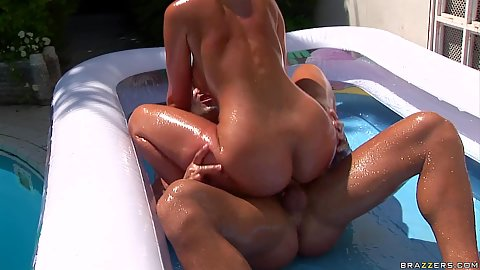 Euro babe in the pool riding cock with her anus anal