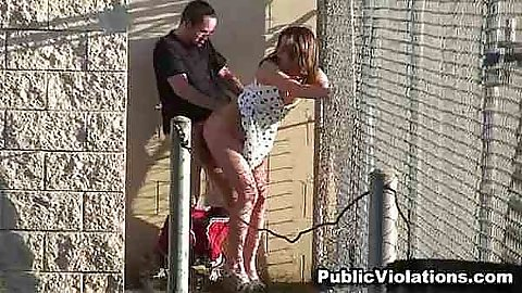 Fucking a hot babe up a fence up her dress