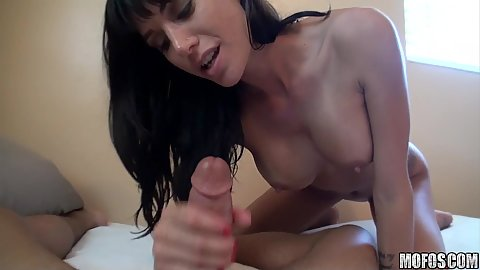 Busty brunette hottie deep throat blow job and insertion