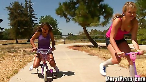 18 Years Old Jynx and Heather out on bikes