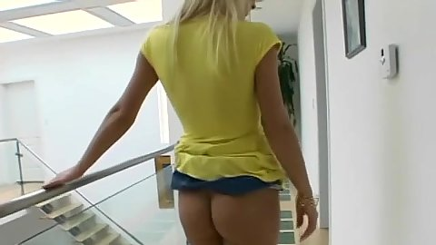 Blonde Helena goes down on her knees to suck it