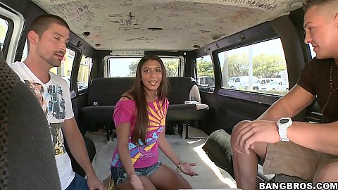 Bang bus and a hot chick is in for a ride