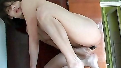 Gf sitting on a dildo attached to a cupboard