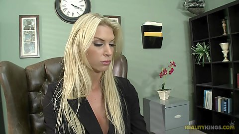 Blonde big tits booke Brooke at the office