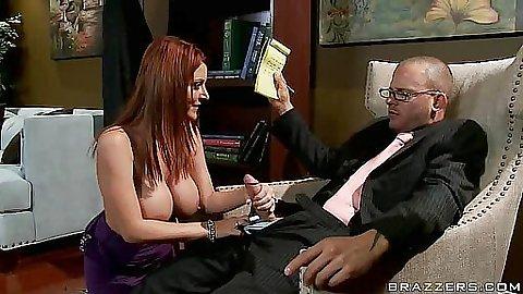 Redhead Sophie Dee big tits blow job