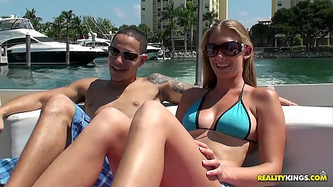 Hot sexy slut outdoors on a private boat