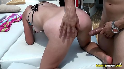 Nice ass slut pounded from the rear outdoors