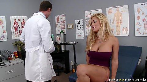 Doctor examines Shyla Stylez shaved pussy