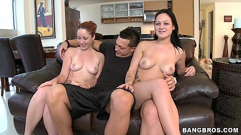 Two hot ass busty sluts team up on penis