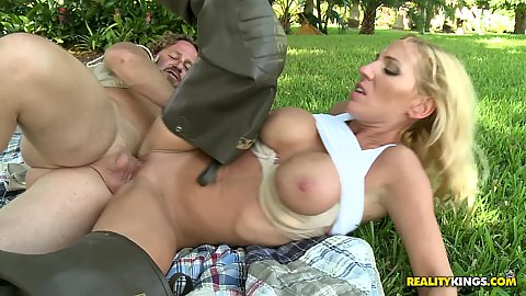Big tits milf fucked on the grass