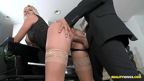 Chantelle fucked doggy style on the piano