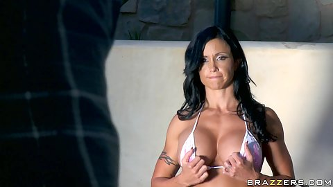 Hot milf sporty busty and in a bikini and two dudes