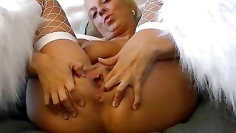 Slut plays with a dildo alone and lonely