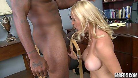 Big tits milf sucking black cock
