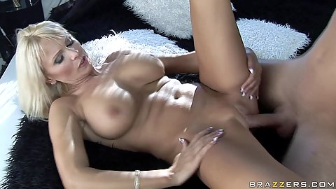 Winnie fucked with legs open and shaved cunt