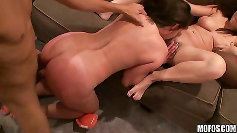 Doggy style and ass spreading during group sex
