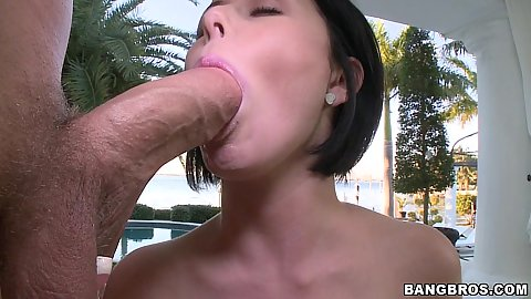 Brunette big tits deepthroat blowjob near ocean
