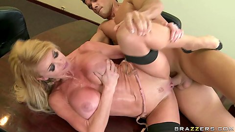 Milf fucked sideways works up a sweat
